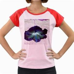 Exotic Hybiscus   Colored Cap Sleeve Raglan Womens  T-shirt by dawnsebaughinc