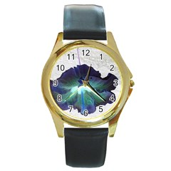 Exotic Hybiscus   Black Leather Gold Rim Watch (round)