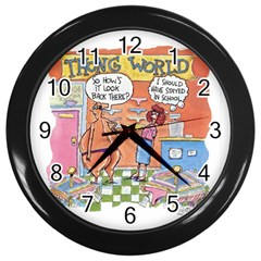 Thong World Black Wall Clock by mikestoons