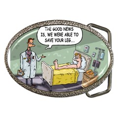 The Good News Is     Belt Buckle (oval) by mikestoons