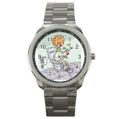 Multitasking Clown Stainless Steel Sports Watch (round) by mikestoons