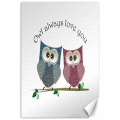 Owl Always Love You, Cute Owls 24  X 36  Unframed Canvas Print by DigitalArtDesgins