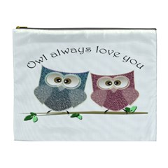 Owl Always Love You, Cute Owls Extra Large Makeup Purse by DigitalArtDesgins