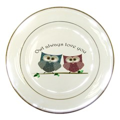 Owl Always Love You, Cute Owls Porcelain Display Plate