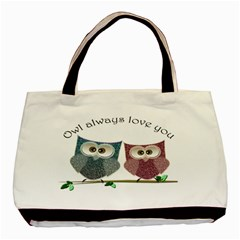 Owl Always Love You, Cute Owls Black Tote Bag