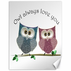 Owl Always Love You, Cute Owls 18  X 24  Unframed Canvas Print by DigitalArtDesgins