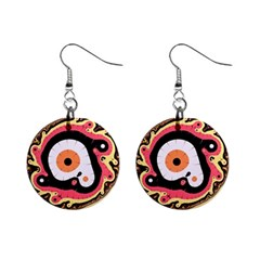 Uru Native Fractal   Mini Button Earrings by 011art