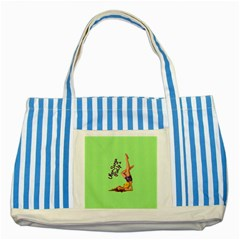 Pin Up Girl 4 Blue Striped Tote Bag