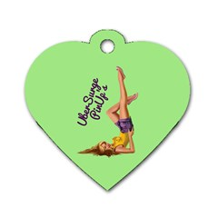 Pin Up Girl 4 Single Sided Dog Tag (heart) by UberSurgePinUps