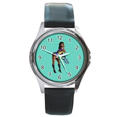 Pin Up 2 Black Leather Watch (round) by UberSurgePinUps