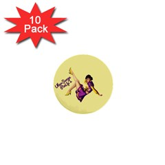 Pin Up Girl 1 1  Mini Button (10 Pack)  by UberSurgePinUps