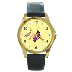 Pin Up Girl 1 Round Gold Metal Watch by UberSurgePinUps