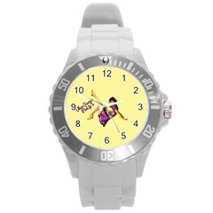 Pin Up Girl 1 Round Plastic Sport Watch Large by UberSurgePinUps