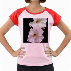 White Peonies   Colored Cap Sleeve Raglan Womens  T Shirt