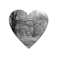 Black And White Forest Large Sticker Magnet (heart)