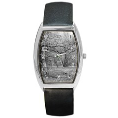 Black And White Forest Black Leather Watch (tonneau)