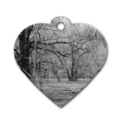 Black And White Forest Single Sided Dog Tag (heart) by Elanga
