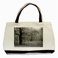 Black And White Forest Twin Sided Black Tote Bag