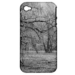 Black And White Forest Apple Iphone 4/4s Hardshell Case (pc+silicone) by Elanga