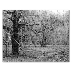Black And White Forest Jigsaw Puzzle (rectangle) by Elanga