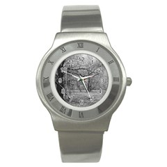Black And White Forest Stainless Steel Watch (round) by Elanga