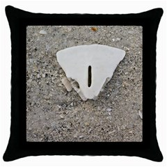 Quarter Of A Sand Dollar Black Throw Pillow Case by Elanga