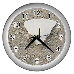 Quarter Of A Sand Dollar Silver Wall Clock by Elanga