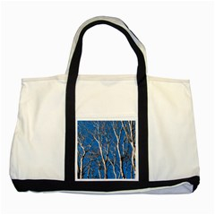 Trees On Blue Sky Two Toned Tote Bag by Elanga