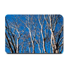 Trees On Blue Sky Small Door Mat by Elanga