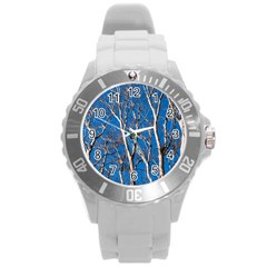 Trees On Blue Sky Round Plastic Sport Watch Large