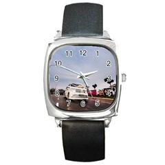 Wedding Car Black Leather Watch (square)