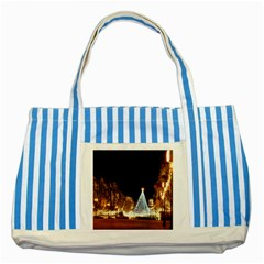 Christmas Deco Blue Striped Tote Bag