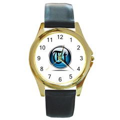 Small Logo Of Trickytricks Round Metal Watch (gold Rim)  by mytrickytricks