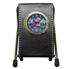 As The Rain Falls Stationery Holder Clock