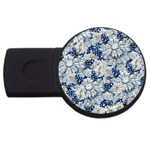 Flower Sapphire and White Diamond Bling 4GB USB Flash Drive (Round) Front