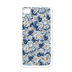 Flower Sapphire And White Diamond Bling Apple Iphone 4 Case (white) by artattack4all