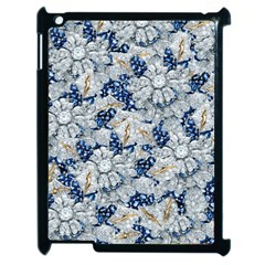Flower Sapphire And White Diamond Bling Apple Ipad 2 Case (black)