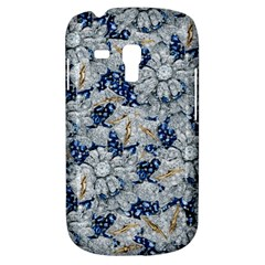 Flower Sapphire And White Diamond Bling Samsung Galaxy S3 Mini I8190 Hardshell Case by artattack4all