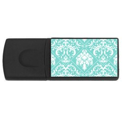 Tiffany Blue And White Damask 4gb Usb Flash Drive (rectangle) by eatlovepray