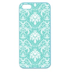 Tiffany Blue And White Damask Apple Seamless Iphone 5 Case (color) by eatlovepray