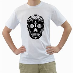 Sugar Skull Mens  T Shirt (white) by asyrum