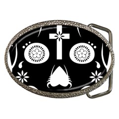 Sugar Skull Belt Buckle (oval)