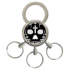 Sugar Skull 3 Ring Key Chain by asyrum