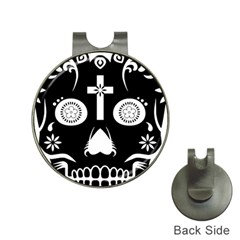 Sugar Skull Hat Clip With Golf Ball Marker by asyrum