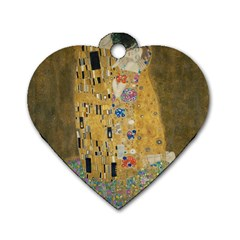 Klimt   The Kiss Dog Tag Heart (one Sided)  by ArtMuseum