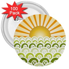 Along The Green Waves 3  Button (100 Pack)