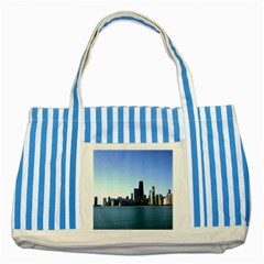 Chicago Skyline Blue Striped Tote Bag