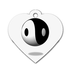 Yin Yang Dog Tag Heart (one Sided)  by hlehnerer