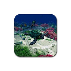 Sea Turtle Rubber Square Coaster (4 Pack) by gatterwe