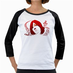 Face Womens  Long Sleeve Raglan T Shirt (white)
